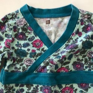 Tea Collection Dresses - TEA Collection Floral Bird Print Wrap Neck Dress